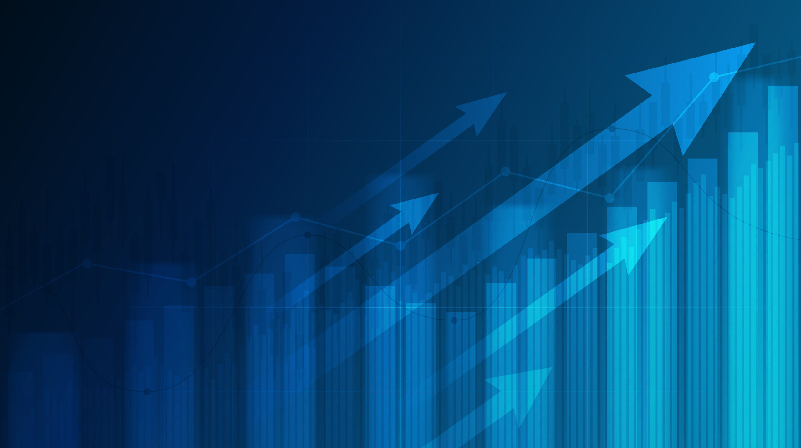Abstract financial graph with uptrend line and arrows in stock market on blue color background